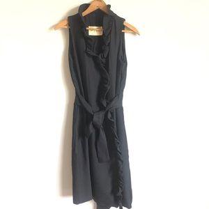 Vintage Mr Mort black wrap ruffle dress